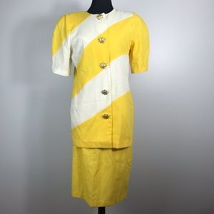 Vintage Yellow & White Skirt Suit with Sun Buttons